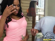 The busty broad proceeds to give her a man a fierce blow job as he attempts to lift the heavy weight while busting a nut.