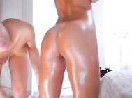 pretty lesbian lovers oiling and massaging