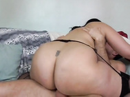 Hairy topheavy British HOUSEWIFE takes huge white dick
