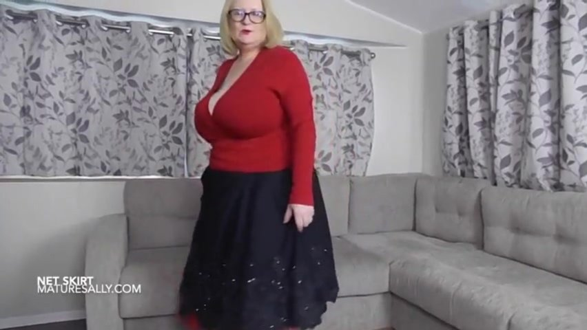 Ebony skirt over red petticoat and grannie pants