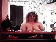 Fat topless doing dishes and teasing